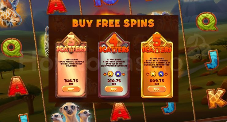 Serengeti Kings Slot Buy Free Spins Feature