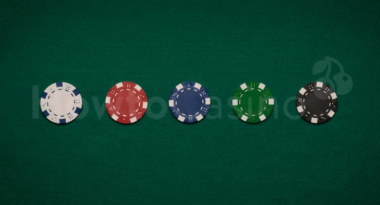 Casino Chips on Blackjack Table