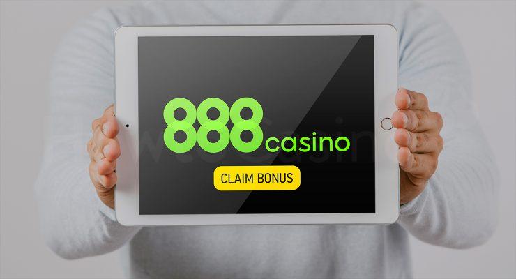 888 कैसीनो कैसीनो बोनस के साथ iPad दिखा रहा है
