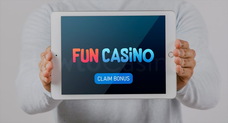 Showing iPad with Fun casino bonus