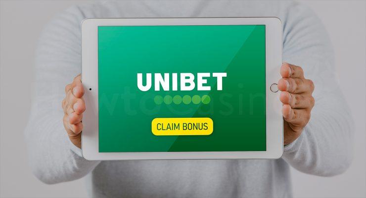 के साथ iPad दिखा रहा है Unibet कैसीनो बोनस