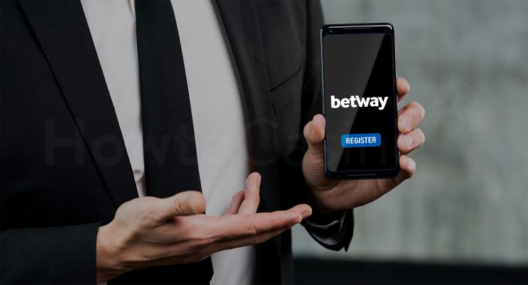 Man holding mobile with Betway Casino page