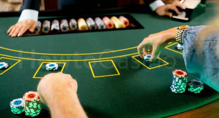 Blackjack players placing bets