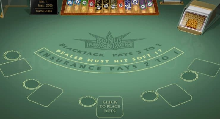 Microgaming Bonus Blackjack table