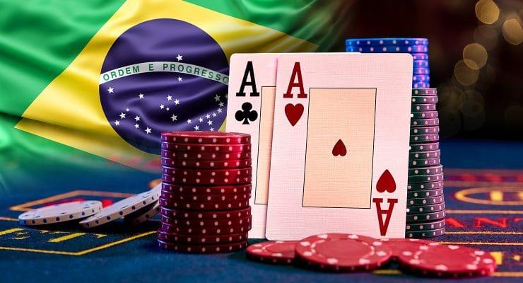 브라질 국기와 카지노 요소