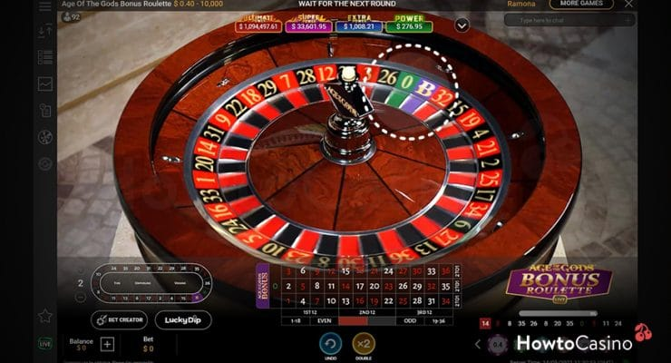 Age of the Gods Bonus Roulette Game Setup