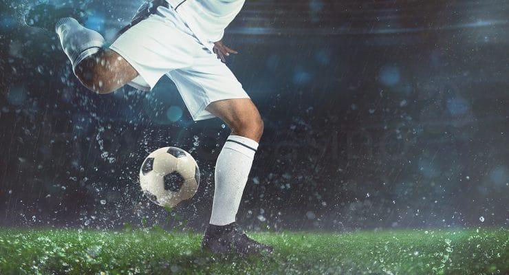 Heavy rain on football match
