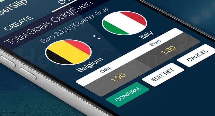 Betslip with Total goals odd bet