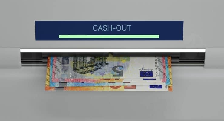 ATM 기계에서 돈을 가져 가기