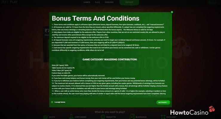 Activate the Bonus before Depositing
