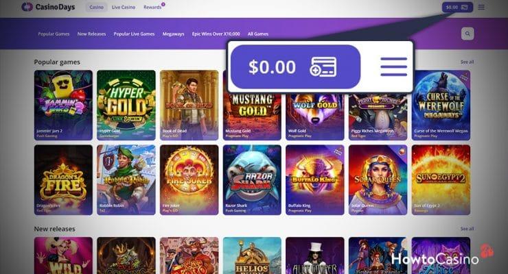 Go to the Casino Days Website